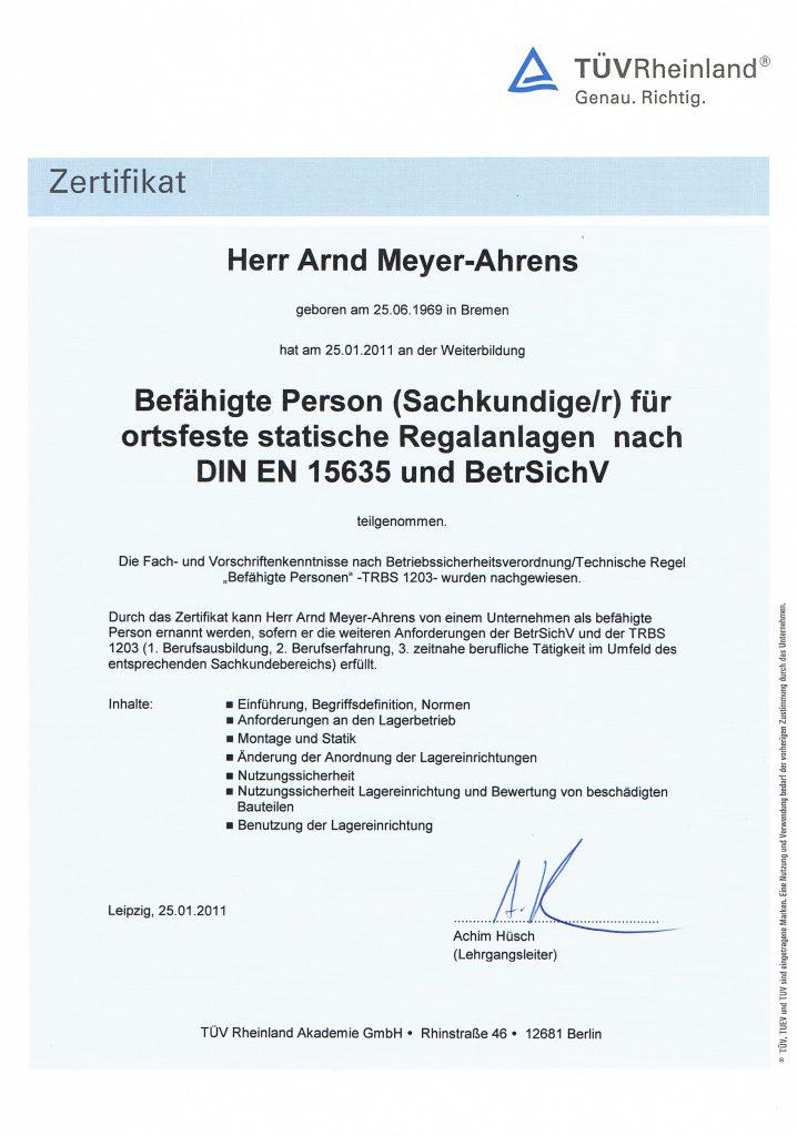 Zertifikat Regalprüfer TÜV Rheinland