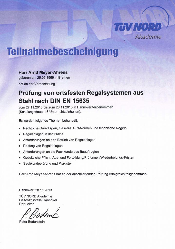 Regalprüfer Zertifikat TÜV Nord