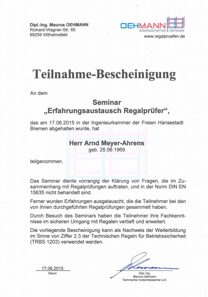 Regalprüfer Weiterbildung Oehmann 2015
