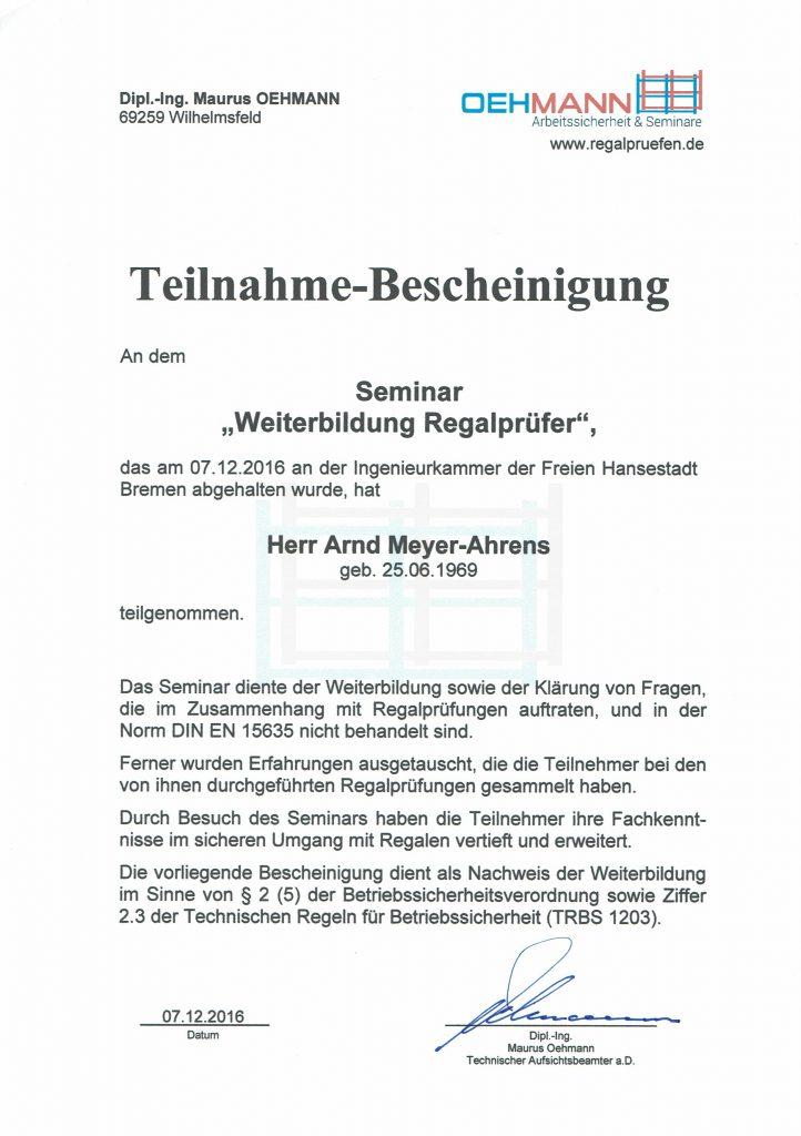 Regalprüfer Weiterbildung Oehmann 2016