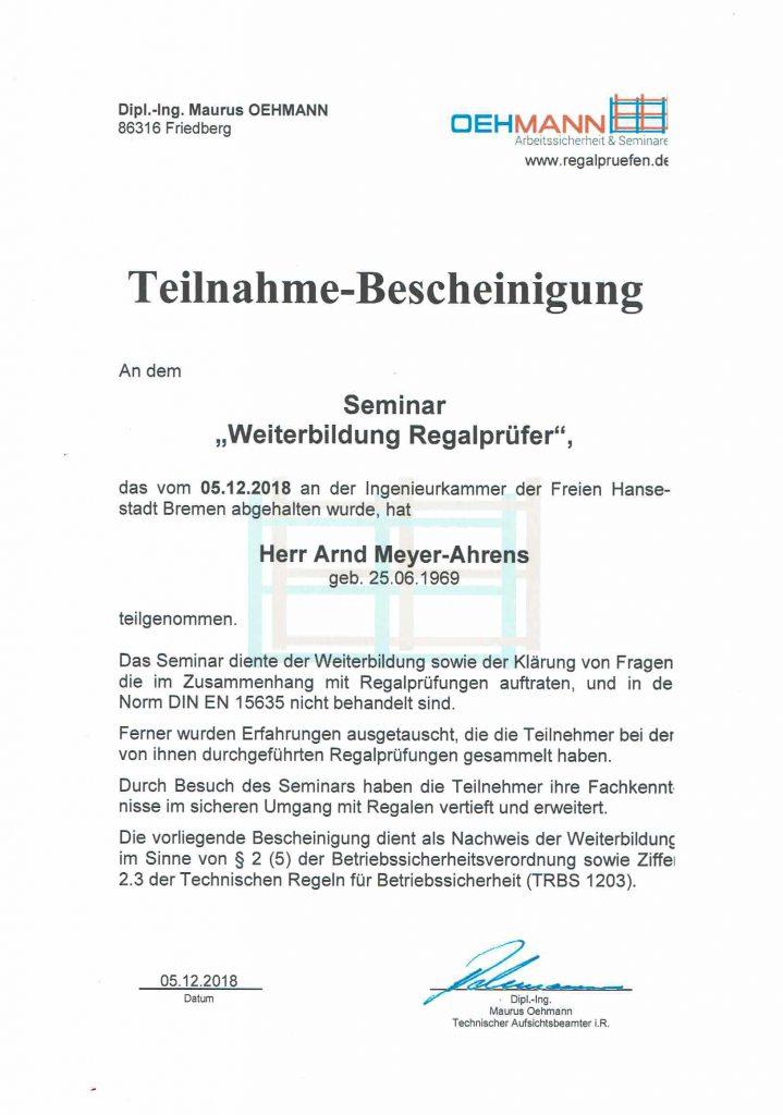 Regalprüfer Weiterbildung Oehmann 2018