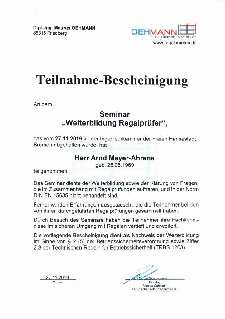 Zertifikat Regalprüfer Weiterbildung Oehmann 2019