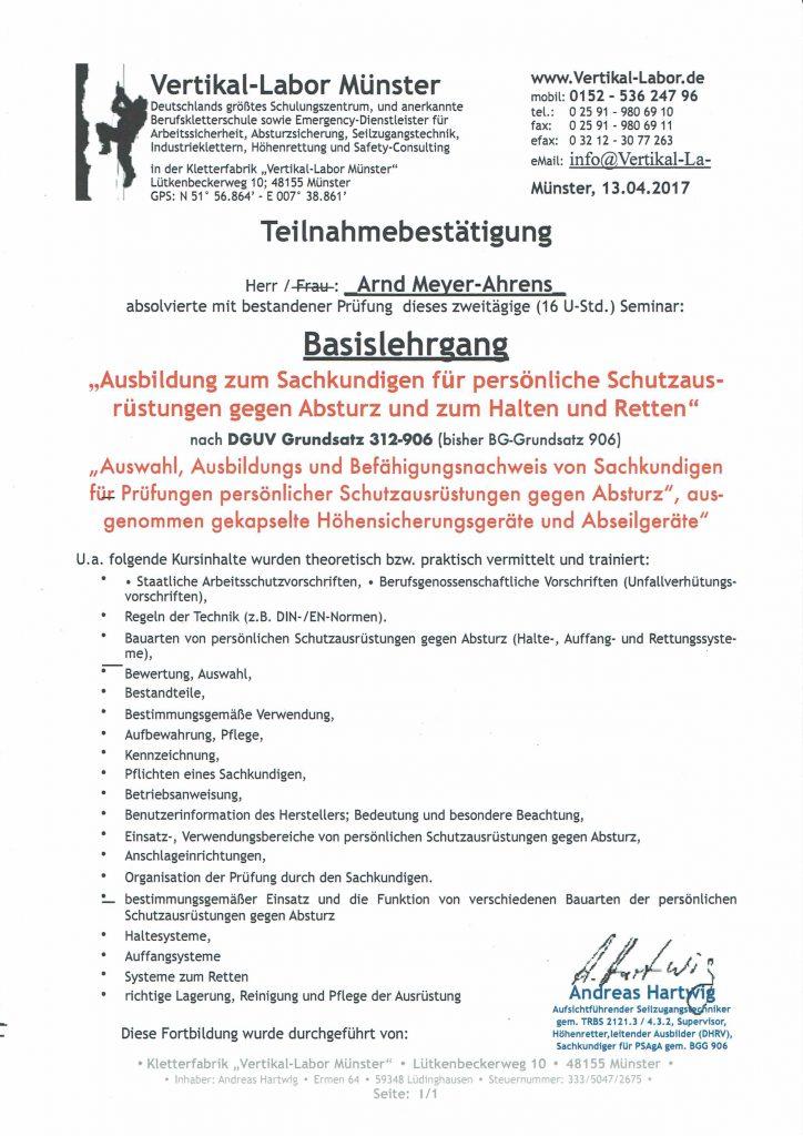 Teilnahmebescheinigung zur Prüfung von PSAgA gem BGG 906