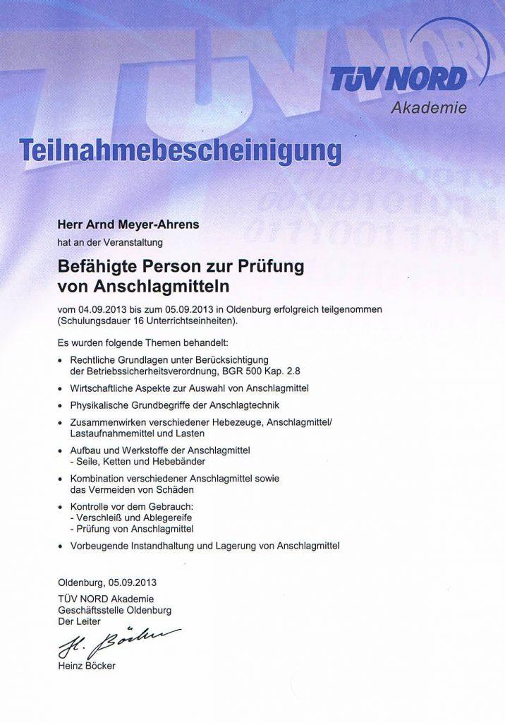 Zertifikant Anschlagmittelprüfer Tüv Nord