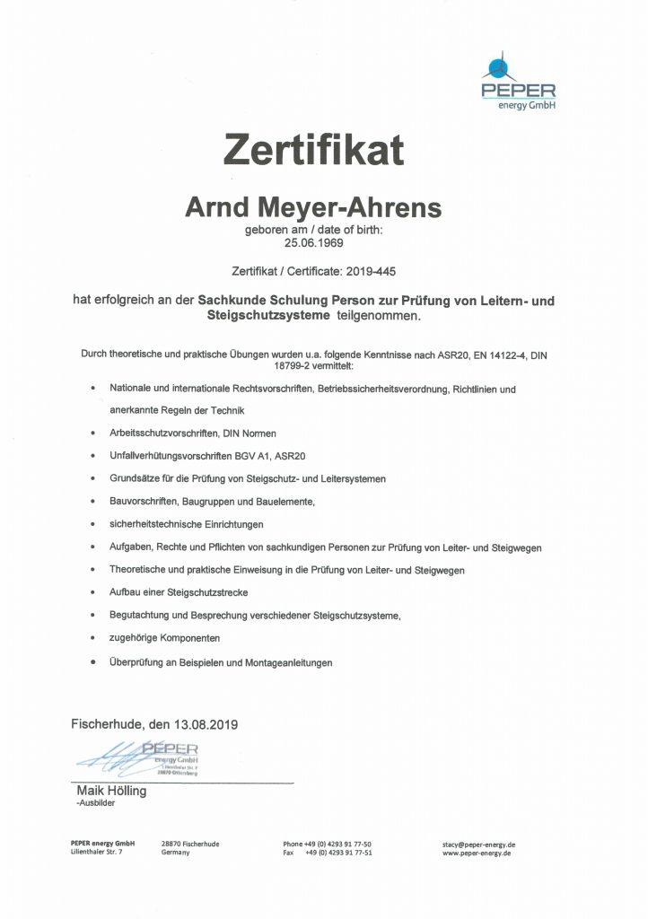 Zertifikat Steigleiterprüfer mit Steigschutzsystemen PEPER 2019